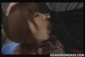 Naked long haired Japanese swallowing the hard rod