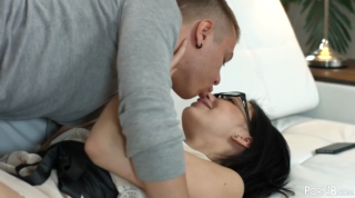 Teen brunette with glasses likes to have anal sex with her boyfriend, as often as possible